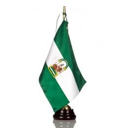 Bandera seda Andalucía con Peana de madera