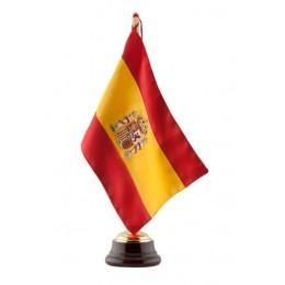 Bandera seda Escudo Constitucional con Peana de madera